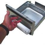 Stainless steel water bowl.